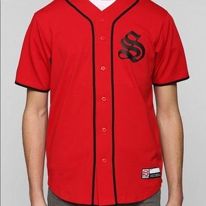 Stussy red baseball jersey sz S